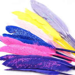 Trimits Luxury 12cm Glitter Faux Duck Craft Feathers 15 Pack