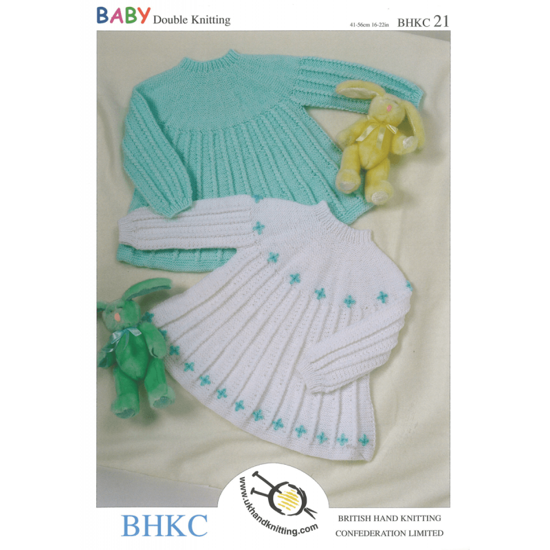 Baby Girls Knitted Long Sleeved Flare Swing Dress BHKC Knitting Pattern BHKC21