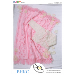 Baby Jacket Cardigan and Matching Pram Blanket BHKC Crochet Pattern BHKC23