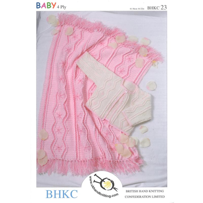 Baby Jacket Cardigan and Matching Pram Blanket BHKC Crochet Pattern BHKC23
