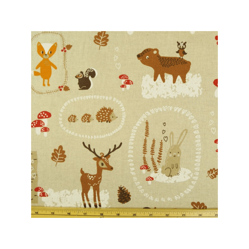 Baby Woodland Creatures and Hearts Cotton Rich Linen Look Upholstery Fabric