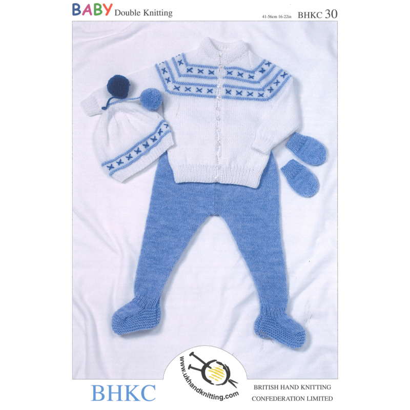 Baby Jacket Leggings Hat and Mittens Winter Set BHKC Knitting Pattern BHKC30