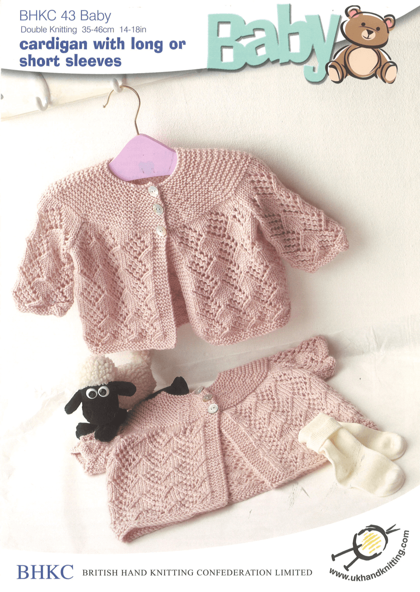 Baby Long or Short Sleeve Cardigan Diamond Pattern BHKC Knitting Pattern BHKC43