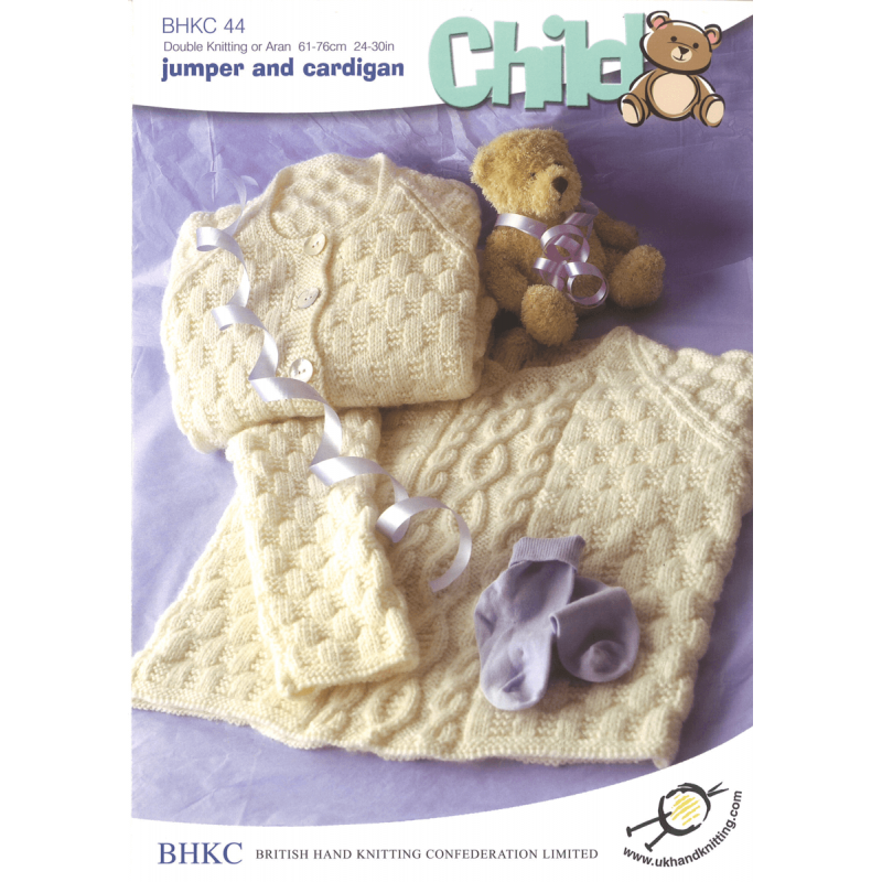 Basket Weave Jumper or Cardigan Toddler Child BHKC Knitting Pattern BHKC44