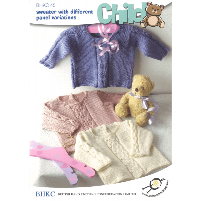 Babies Children Jumper with Panel Variations BHKC Knitting Pattern BHKC45