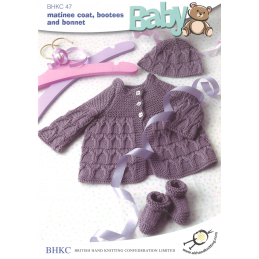 ddf9403bbd14 Baby Short Sleeved Dress with Cardigan and Hat Knitting Pattern UKH...