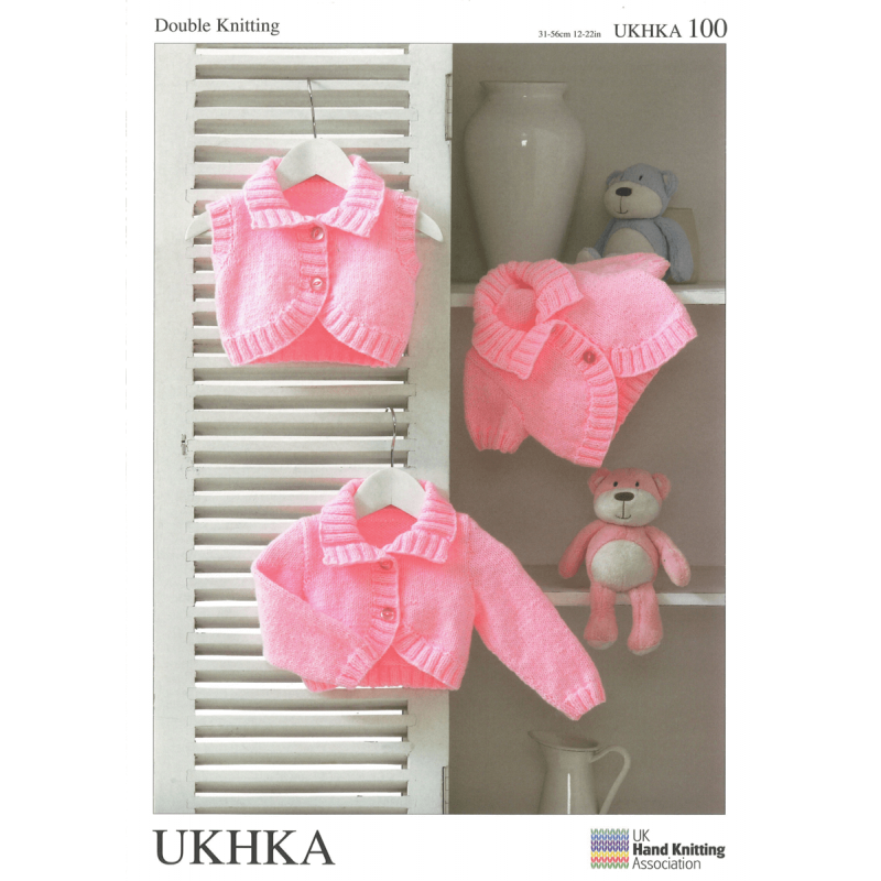 Girls Cardigans and Waistcoat Shrugs with Collar Knitting Pattern UKHKA100