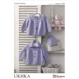 Baby Jackets Crew Neck or Collar and Winter Hat Knitting Pattern UKHKA101