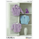 Baby Hooded V-Neck or Round Neck Cardigans Knitting Pattern UKHKA106