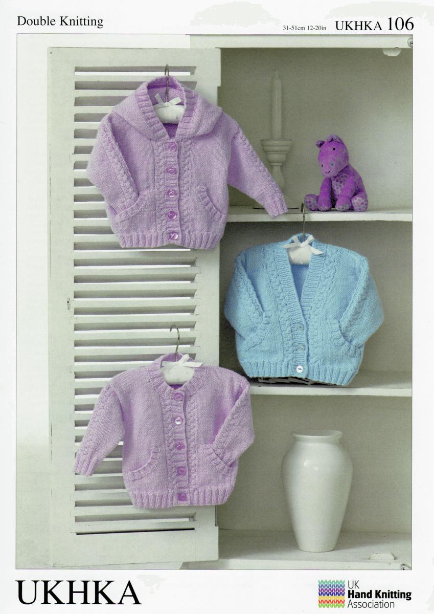 Baby Hooded V-Neck or Round Neck Cardigans Knitting Pattern UKHKA106