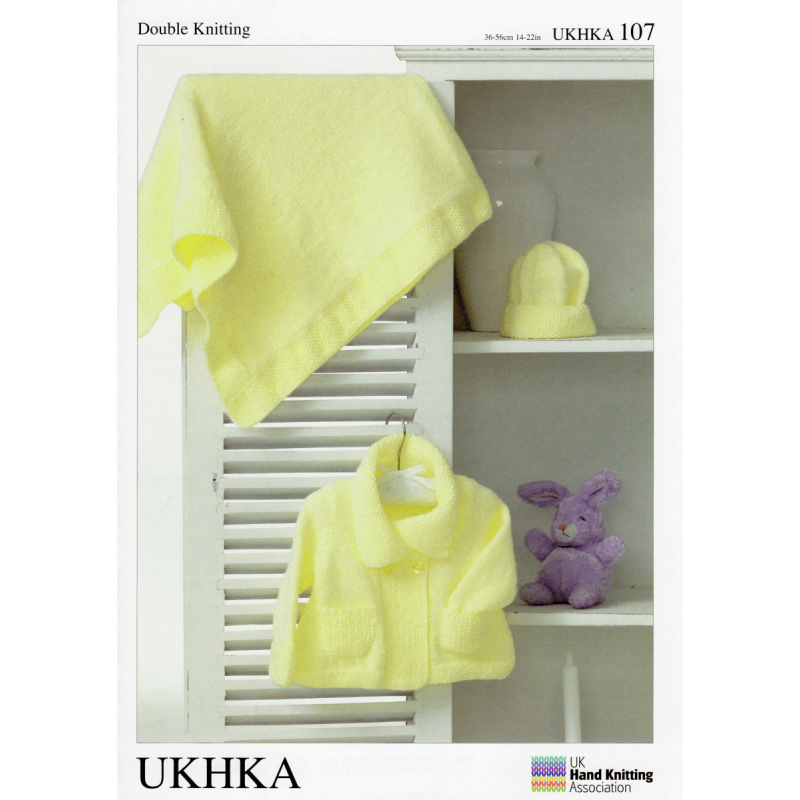 Fold Over Collar Jacket with Matching Hat and Blanket Knitting Pattern UKHKA107