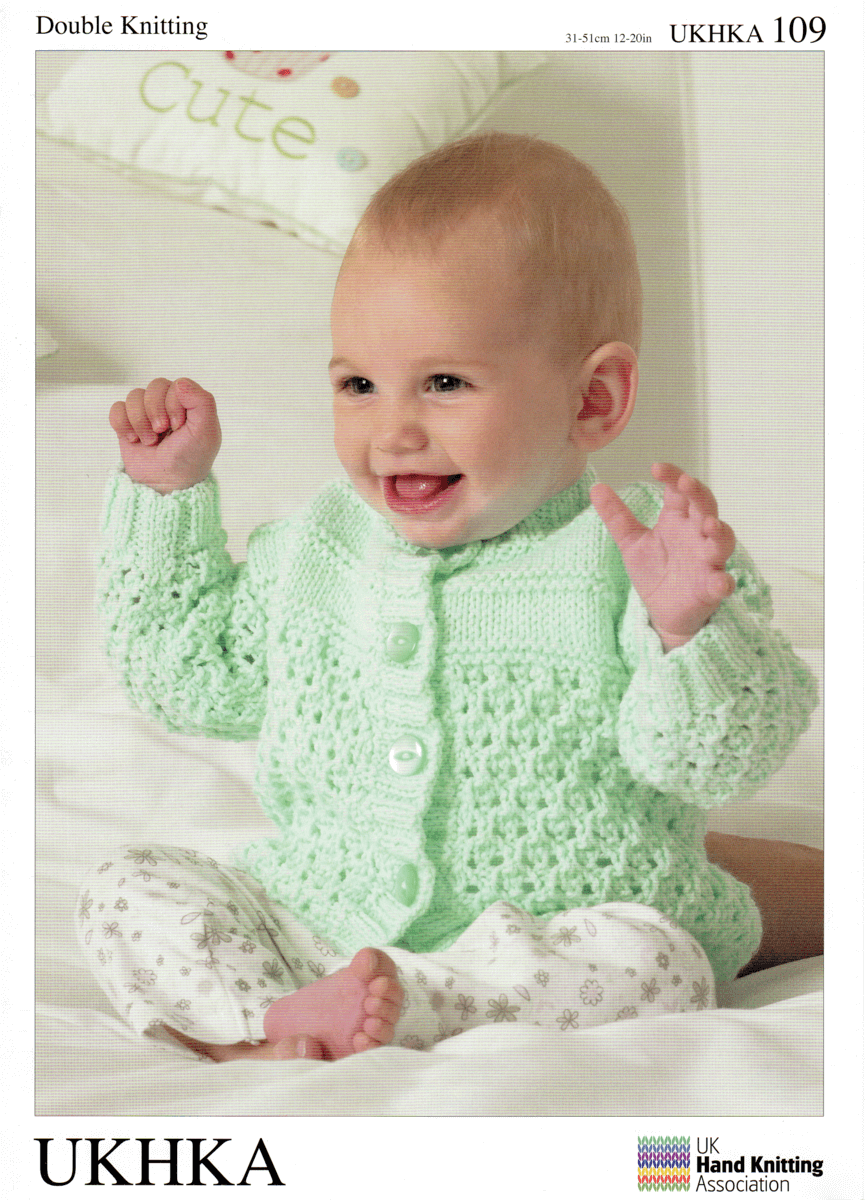 Baby Lattice Design Cardigans Knitting Pattern UKHKA109