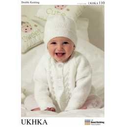 Baby Cabled Detail Cardigan and Hat Set Knitting Pattern UKHKA110