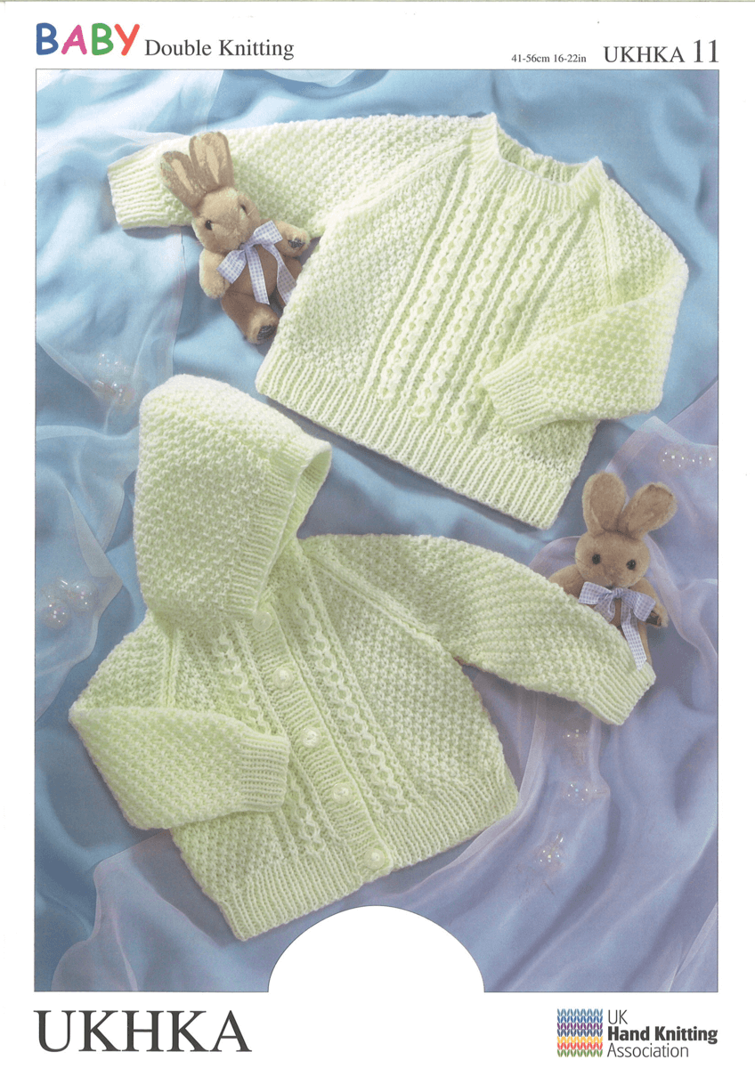 Baby Fisherman Style Jumper or Hooded Jacket Knitting Pattern UKHKA11