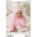 Baby Cabled and Ribbed Cardigan Hat and Blanket Set Knitting Pattern UKHKA112