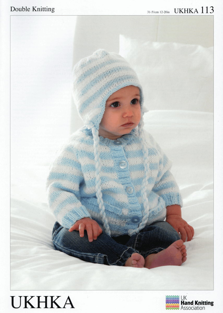 Baby Striped Cardigan with Matching Hat and Scarf Knitting Pattern UKHKA113