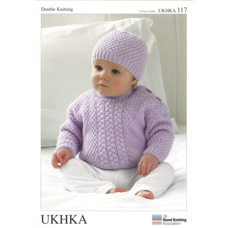 Baby Moss Stitch Or Cable Braid Jumper Hat And Scarf Knitting Patte