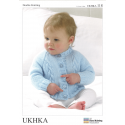 Baby Moss Stitch or Cable Braid Jumper Hat and Scarf Knitting Pattern UKHKA117