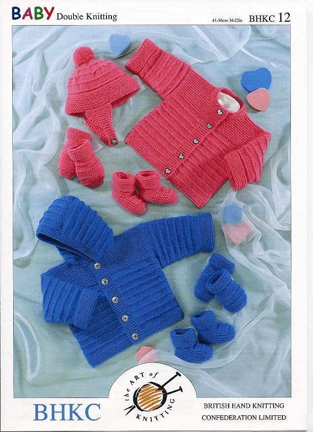 Baby Winter Set Jacket Cardigan Hat Mittens Booties Knitting Pattern UKHKA12