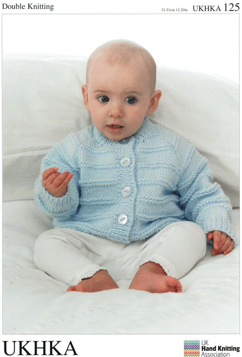 Baby Various Ribbed Cardigans Round, V or Shawl Neck Knitting Pattern UKHKA125