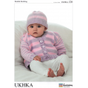 Baby Striped Mix and Match Classic Knit Cardigan Hat Knitting Pattern UKHKA126