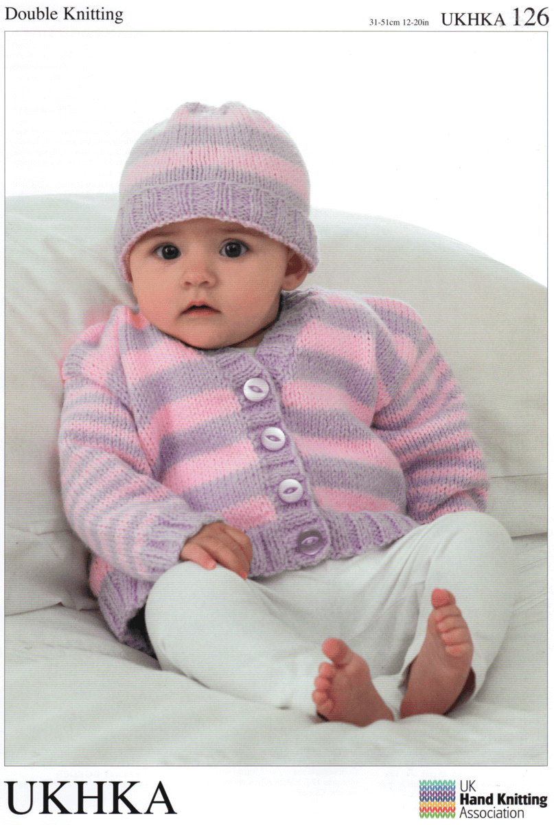 Baby Striped Mix and Match Classic Knit Cardigan Hat Knitting Pattern UKHKA126