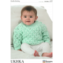Baby Loose Knit Diamond Jumper or Cardigans Knitting Pattern UKHKA127
