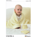 Baby Pram or Cot Blanket and Matching Cushion Knitting Pattern UKHKA128