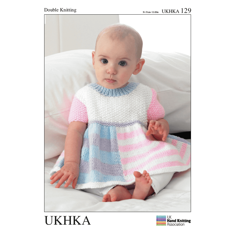 Baby Short Sleeved Dress with Cardigan and Hat Knitting Pattern UKHKA129