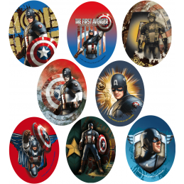 Marvel Comics Captain America Oval Patches Woven Iron / Sew On Motif Applique