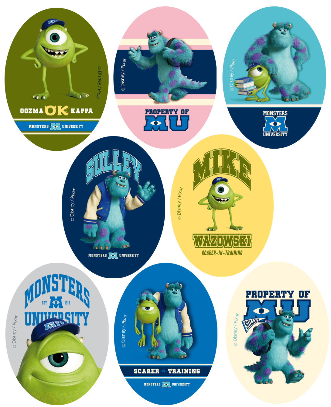 Disney Monsters University Oval Patches Woven Iron / Sew On Motif Applique