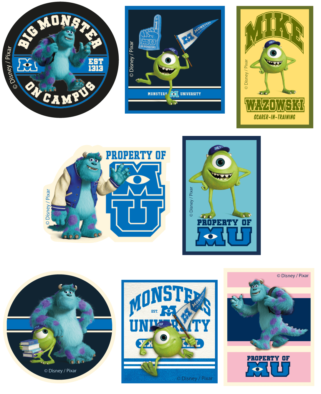 Disney Monsters University Character Patches Woven Iron / Sew On Motif Applique
