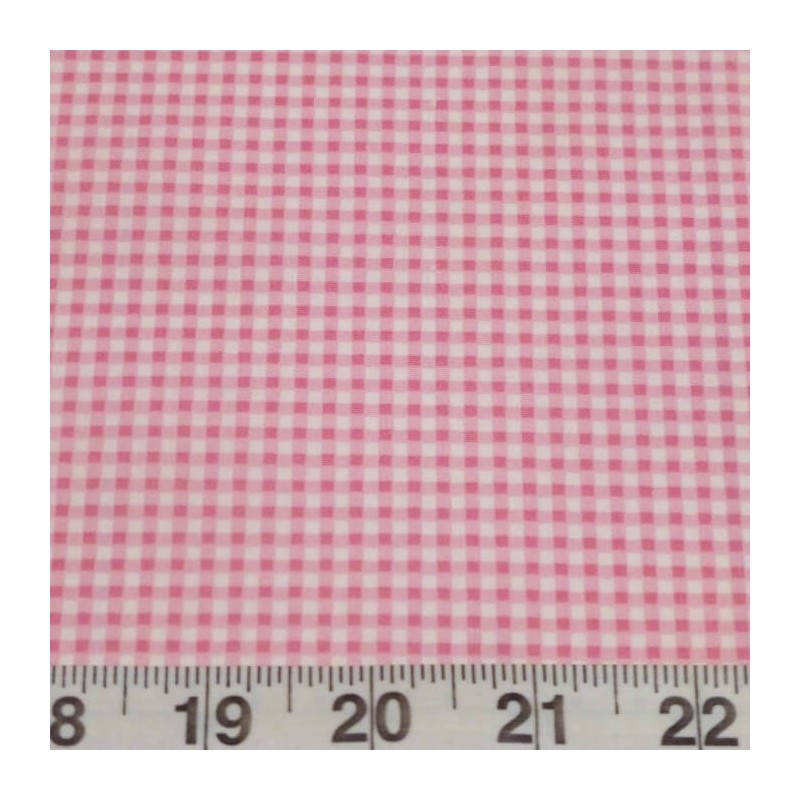 Pink 100% Cotton Poplin Fabric Rose & Hubble Mini Check Gingham