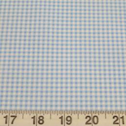 Light Blue 100% Cotton Poplin Fabric Rose & Hubble Mini Check Gingham