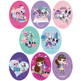 Littlest Pet Shop Oval Patches Woven Iron / Sew On Motif Applique