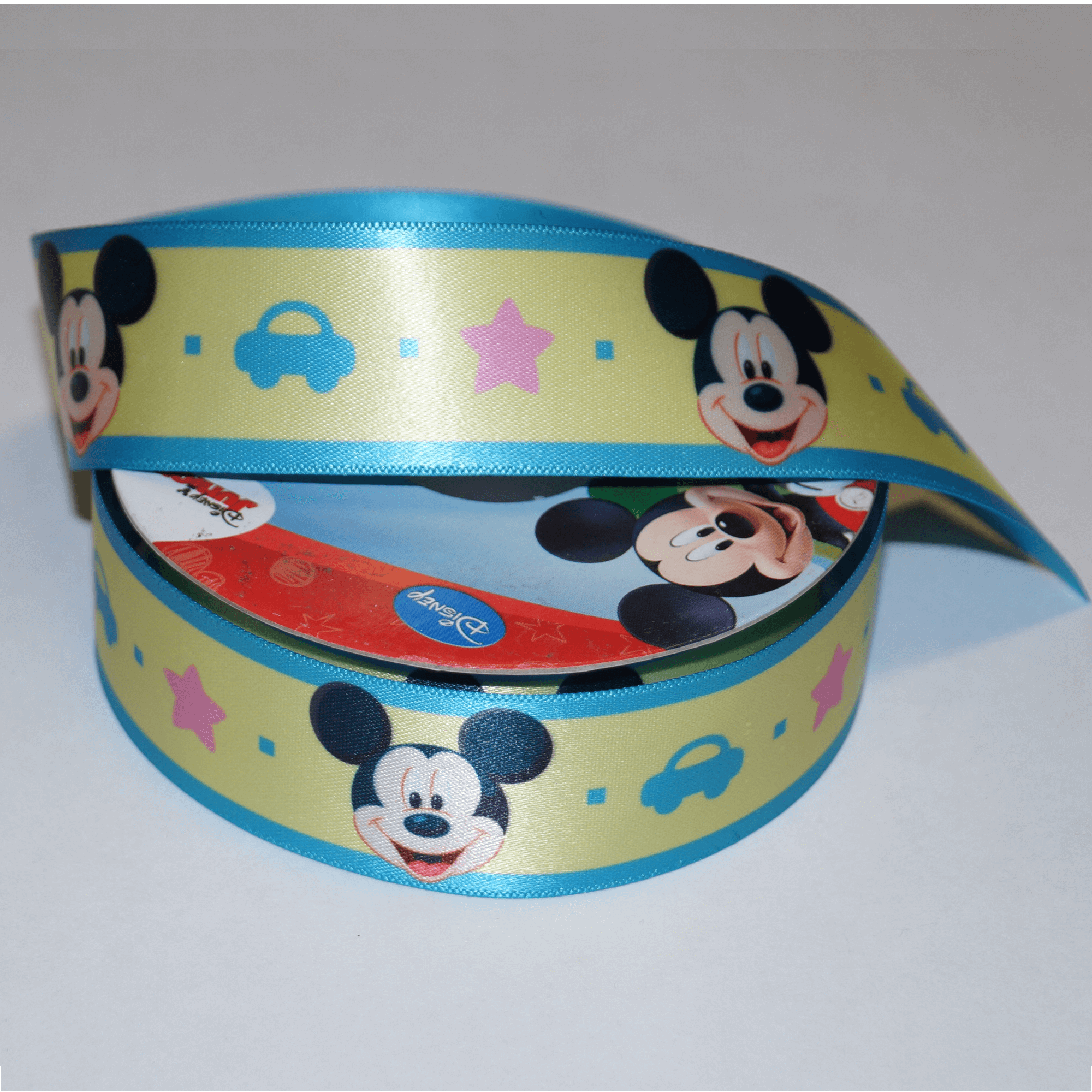 1 Metre Disney Mickey Mouse Stars Cars Yellow 25mm Satin Craft Ribbon