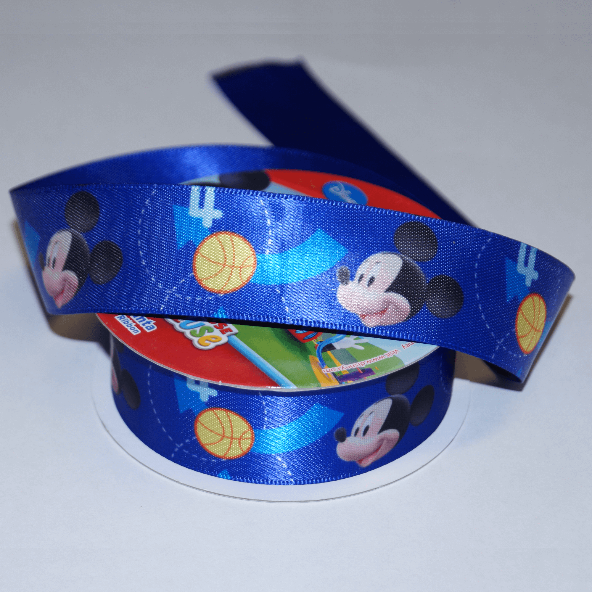 1 Metre Disney Mickey Mouse All Star Font 25mm Satin Craft Ribbon