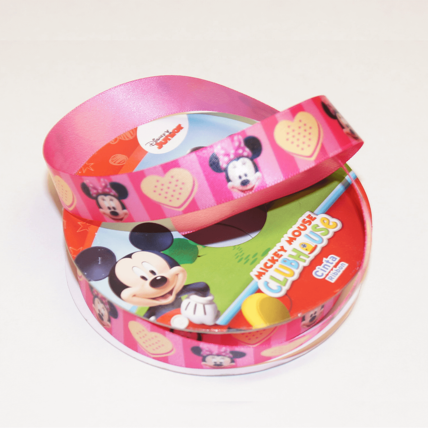 1 Metre Disney Minnie Mouse Clubhouse Love Hearts 15mm Satin Craft Ribbon
