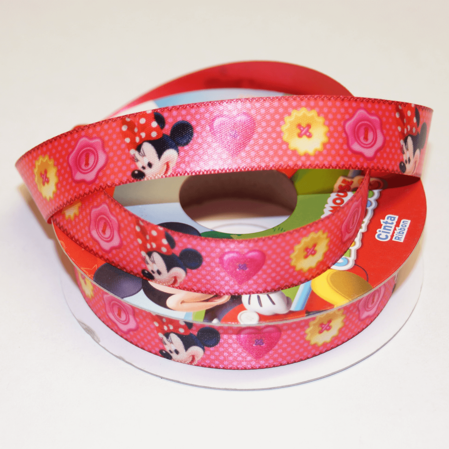 1 Metre Disney Minnie Mouse Clubhouse Spotty Hearts 15mm Satin Craft Ribbon