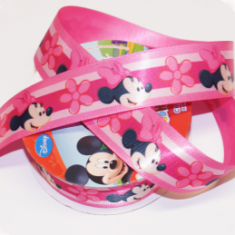 1 Metre Disney Minnie Mouse Floral Pink 25mm Satin Craft Ribbon