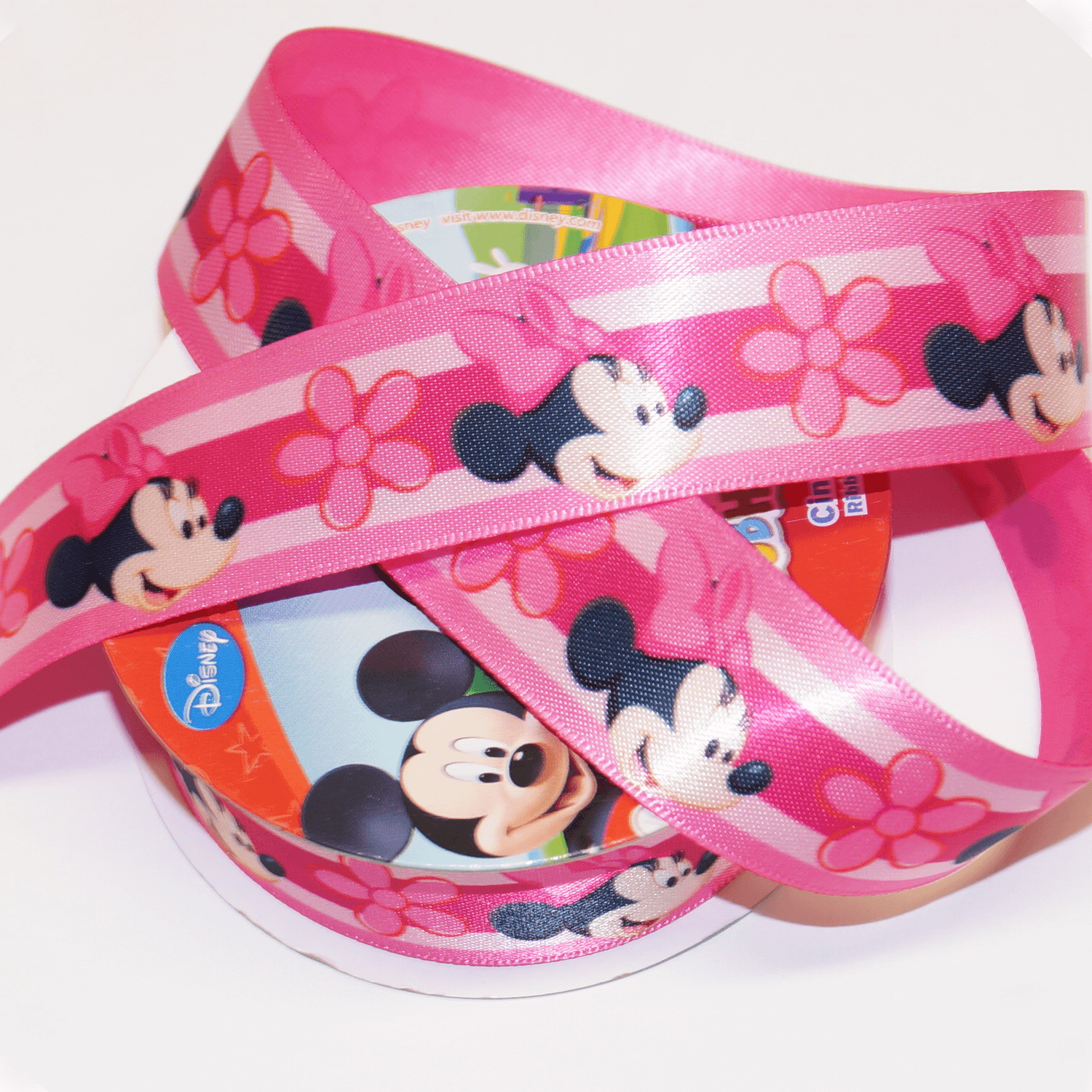 1 Metre Disney Mickey Mouse Hearts Red 25mm Satin Craft Ribbon