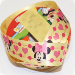 1 Metre Disney Minnie Mouse Hearts Yellow 25mm Satin Craft Ribbon