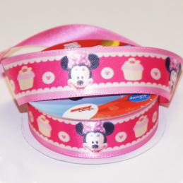 1 Metre Disney Minnie Mouse Cupcakes Pink 25mm Satin Craft Ribbon
