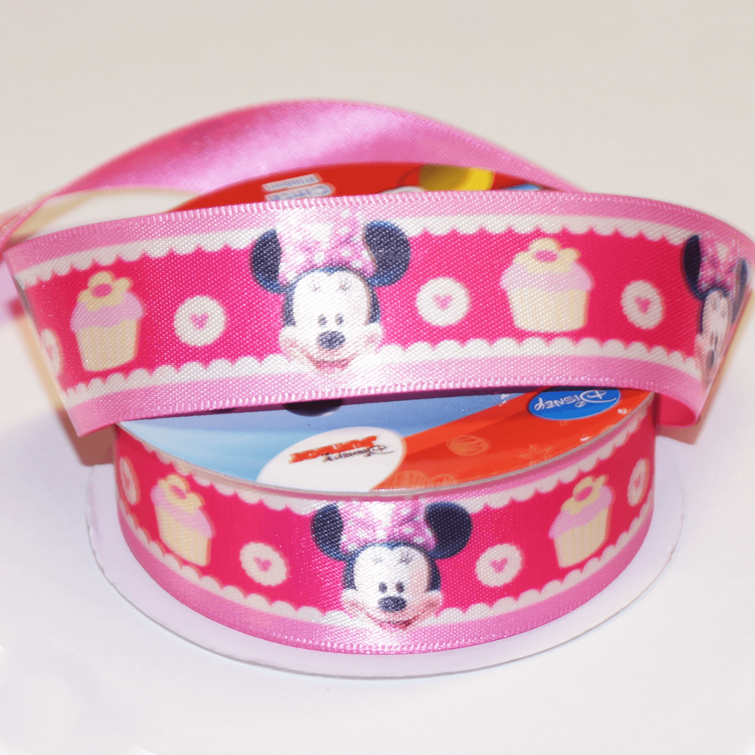 1 Metre Disney Minnie Mouse Hearts Yellow 25mm Satin Craft Ribbon