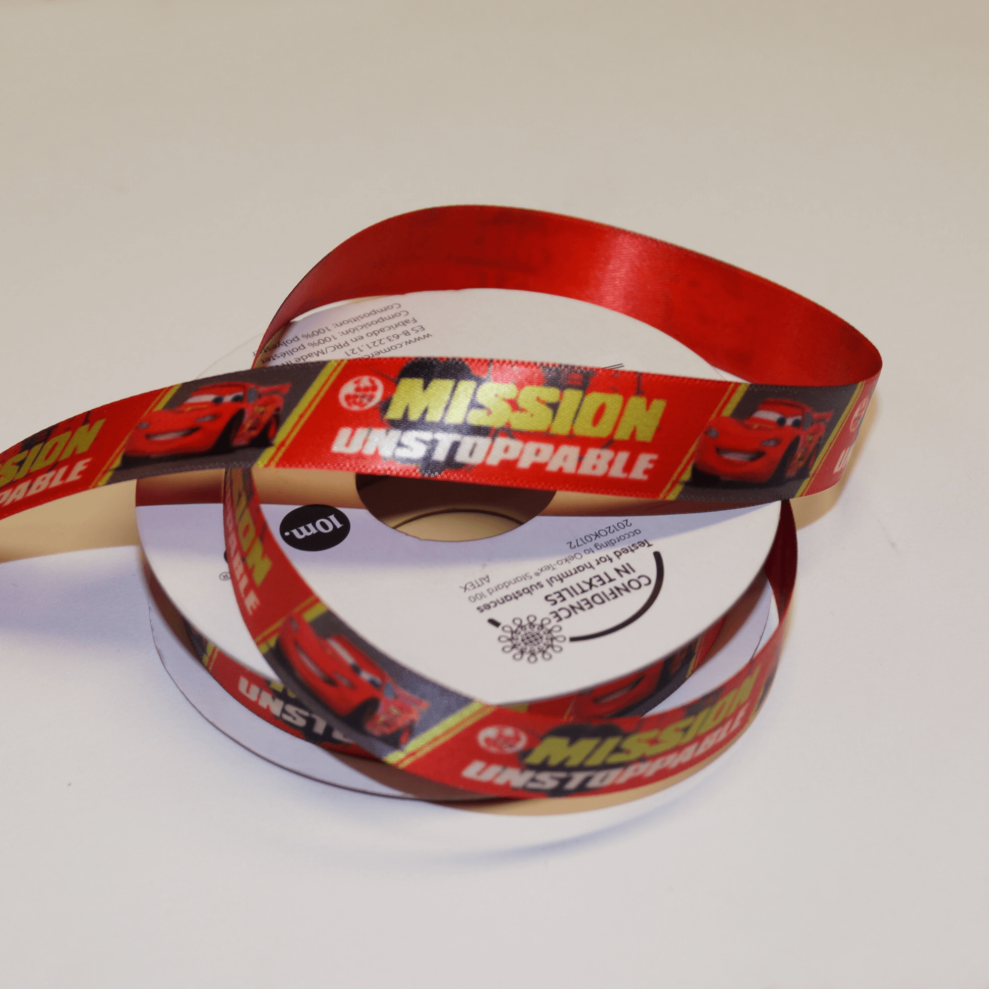 DO PHOTOS! 1 Metre Disney Cars Lightning McQueen Unstoppable 15mm Satin Craft Ribbon