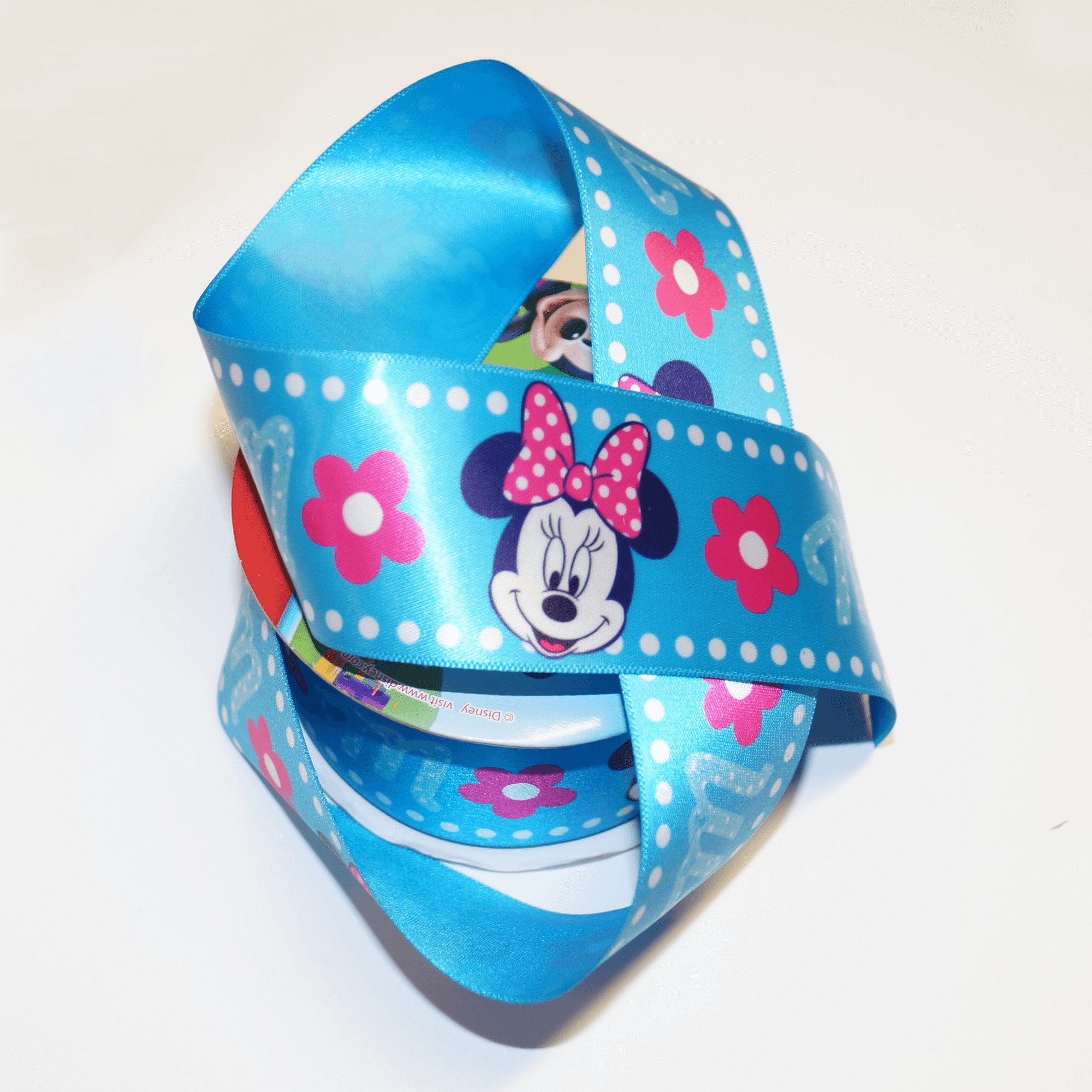 DO PHOTOS! 1 Metre Disney Minnie Mouse Spots Floral 38mm Satin Craft Ribbon