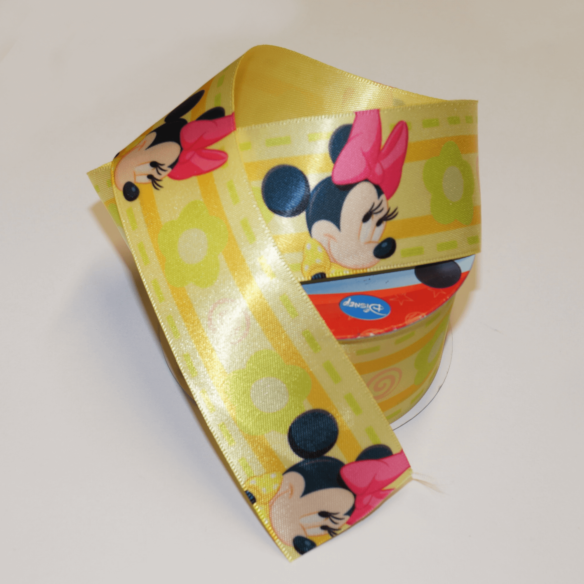 DO PHOTOS! 1 Metre Disney Minnie Yellow Floral 38mm Satin Craft Ribbon