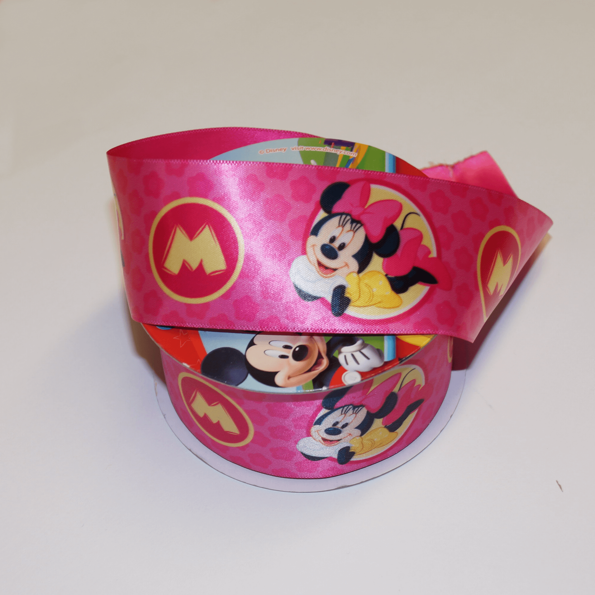DO PHOTOS! 1 Metre Disney Minnie Mouse M Emblem 38mm Satin Craft Ribbon