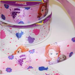 1 Metre Disney Sofia The First Princess 25mm Satin Craft Ribbon