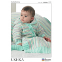 Baby Triple Stripe Cardigan Jacket Hat Blanket Set Knitting Pattern UKHKA132